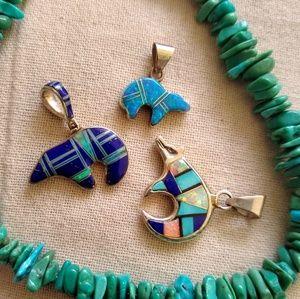 Sterling Native American Micro inlay bear pendant